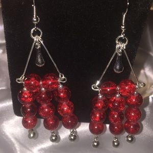 Red crackled earrings